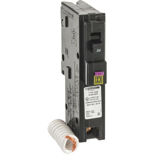 Square D Homeline 20A Single-Pole CAFCI Dual Function Circuit Breaker