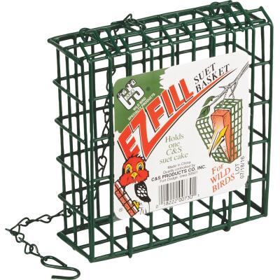 C&S EZ Fill Green 1-Cake Metal Suet Feeder