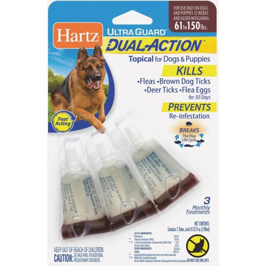 Hartz UltraGuard Dual Action 3-Month Supply Flea & Tick Treatment For Dogs & Puppies From 61 to 150 Lb.